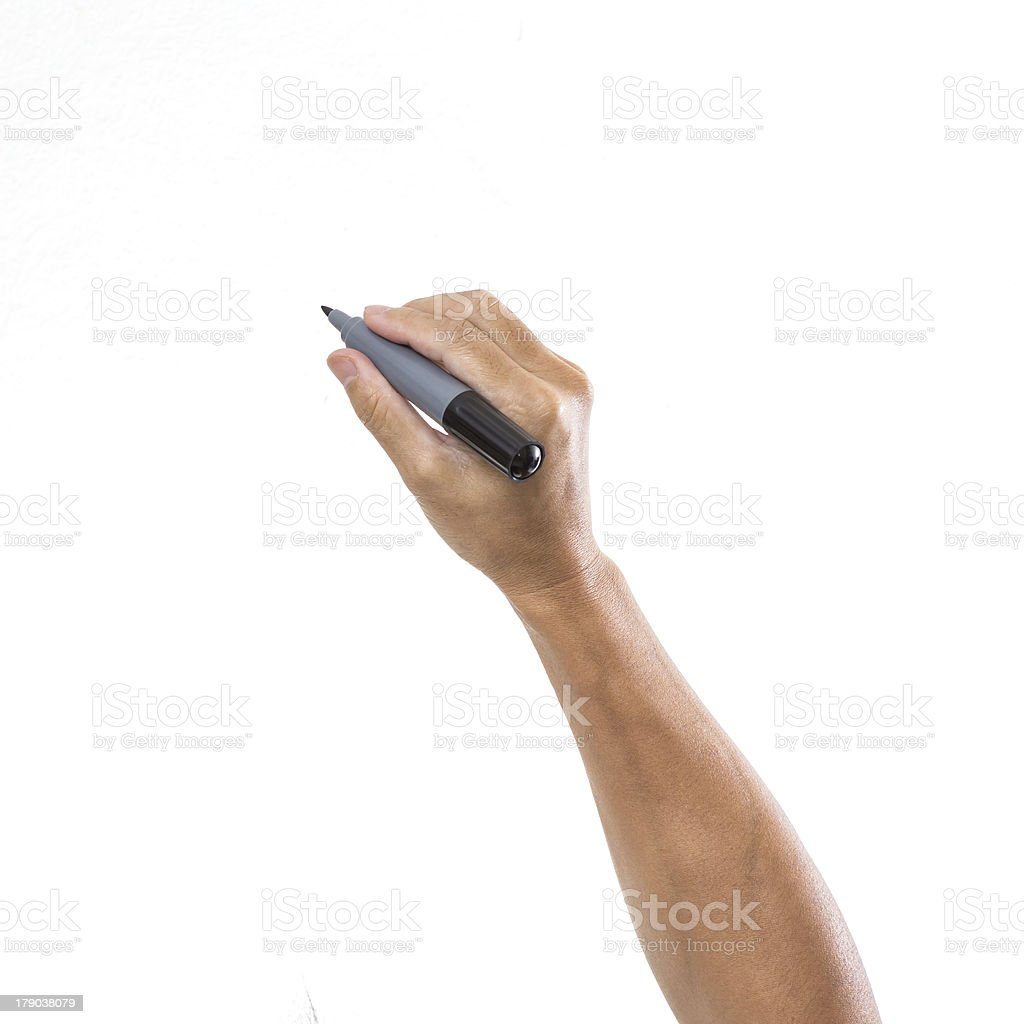 Man hand with pen isolated on white background stock photo
