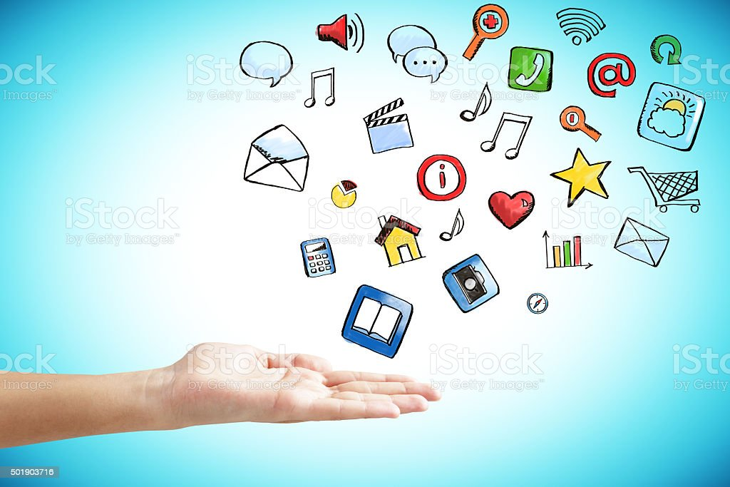 Man hand with social media icons concept stock photo
