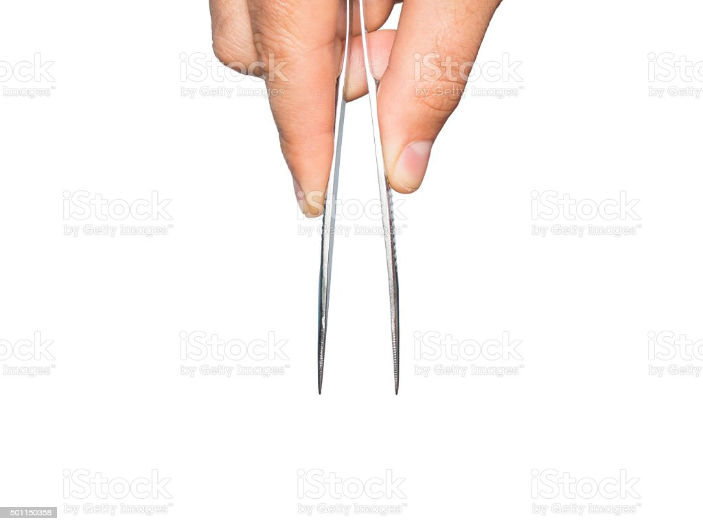 Man hand with tweezers stock photo