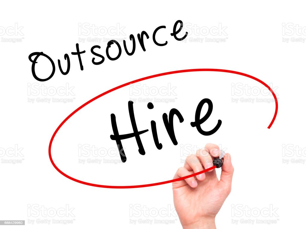 Man Hand writing and Choosing to Hire instead of Outsource with black marker on visual screen stock photo