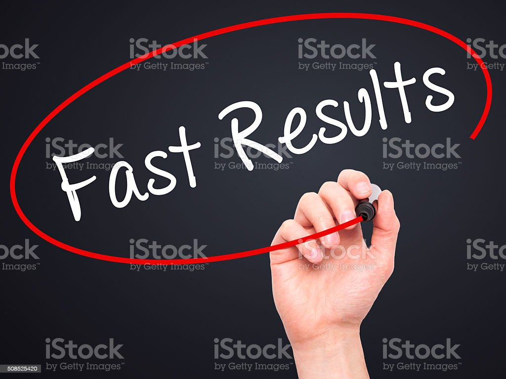 Man Hand writing Fast Results with marker on visual screen stock photo