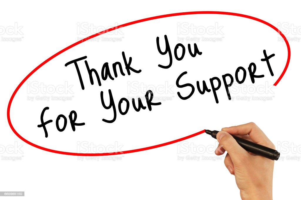 Man Hand writing Thank you For Your Support with black marker on visual screen. Isolated on background. Business, technology, internet concept. Stock Photo stock photo