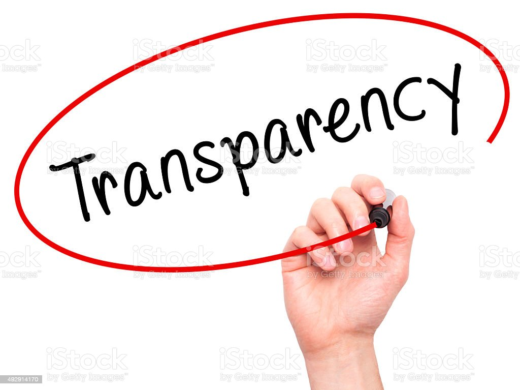 Man Hand writing Transparency with marker on transparent wipe board. stock photo