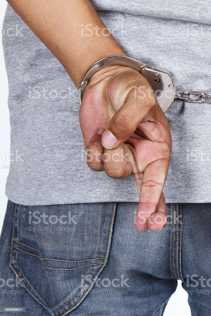 Man handcuffed royalty-free stock photo