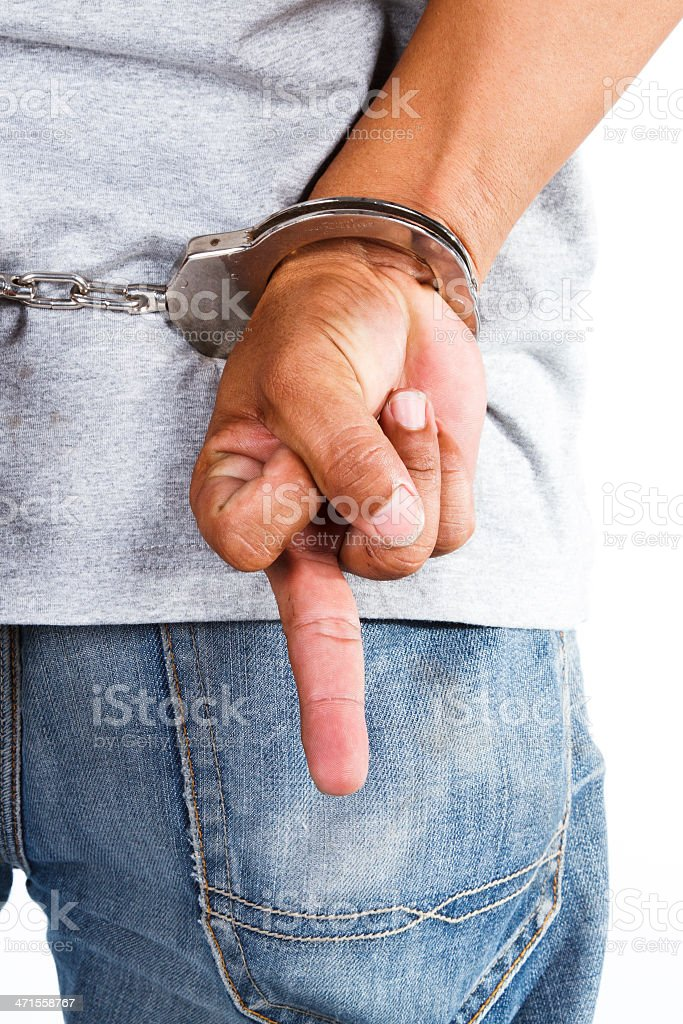 Man handcuffed royalty-free stock photo