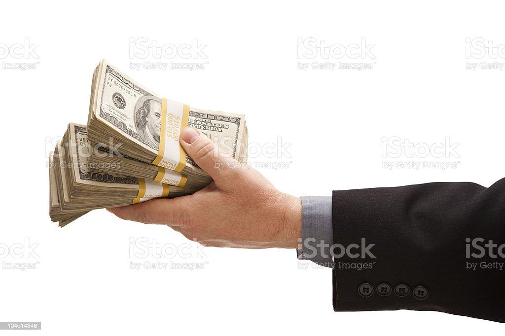Man Handing Over Hundreds of Dollars stock photo