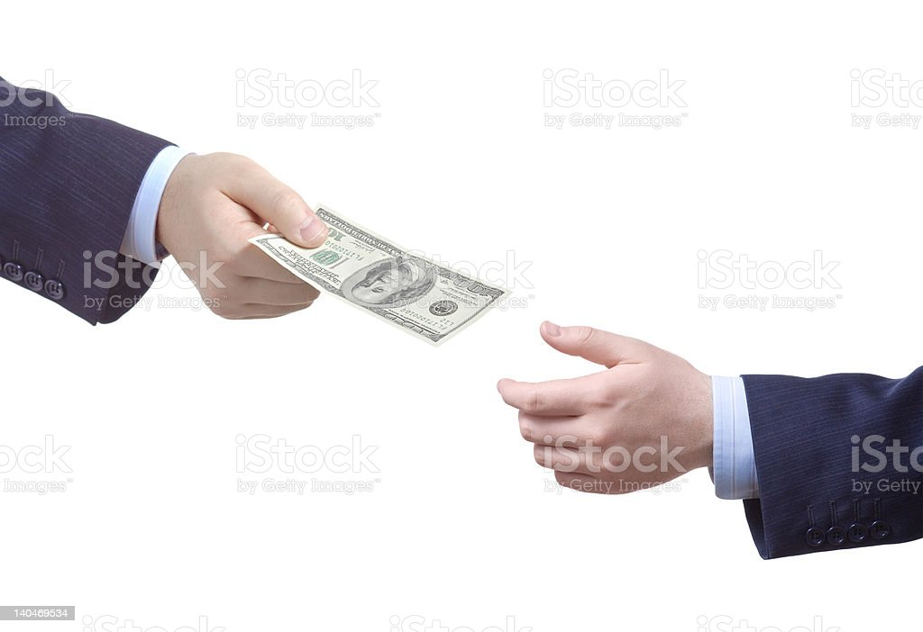 Man handing over money to another person royalty-free stock photo