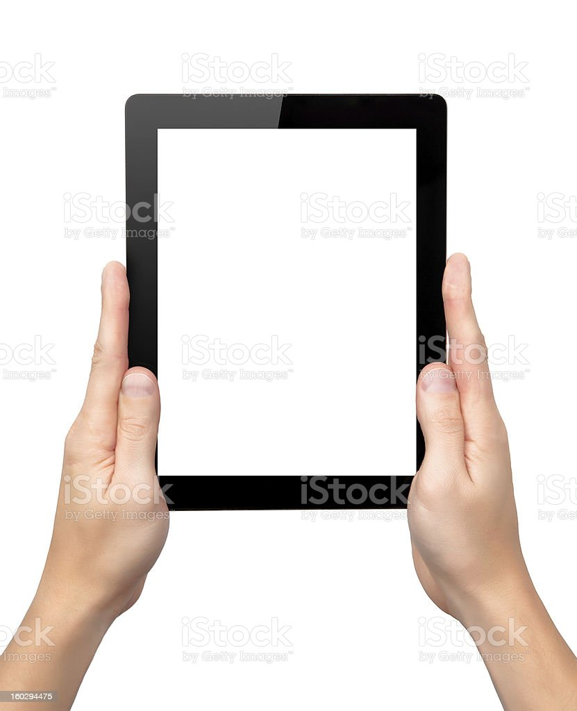 man hands hold a tablet with isolated screen royalty-free stock photo