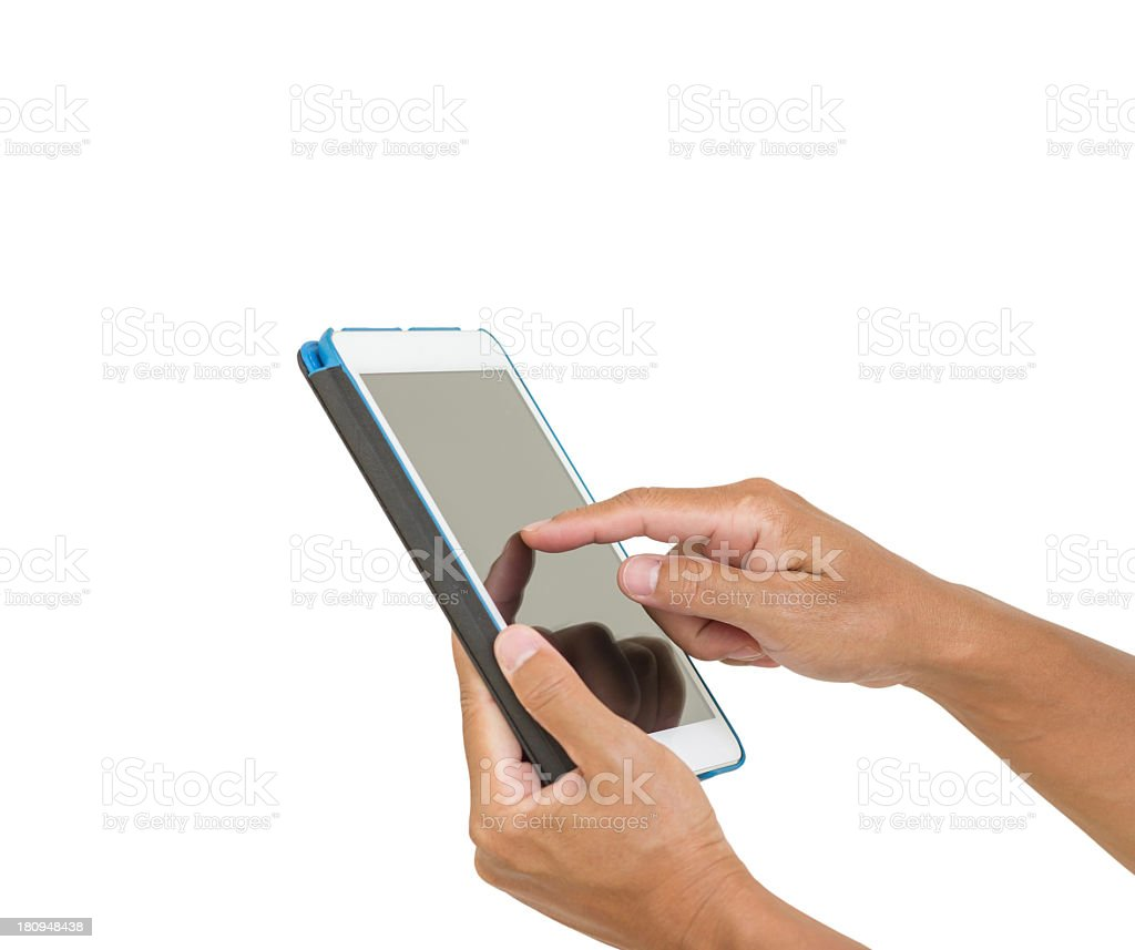 Man hands hold digital tablet isolated on white background royalty-free stock photo