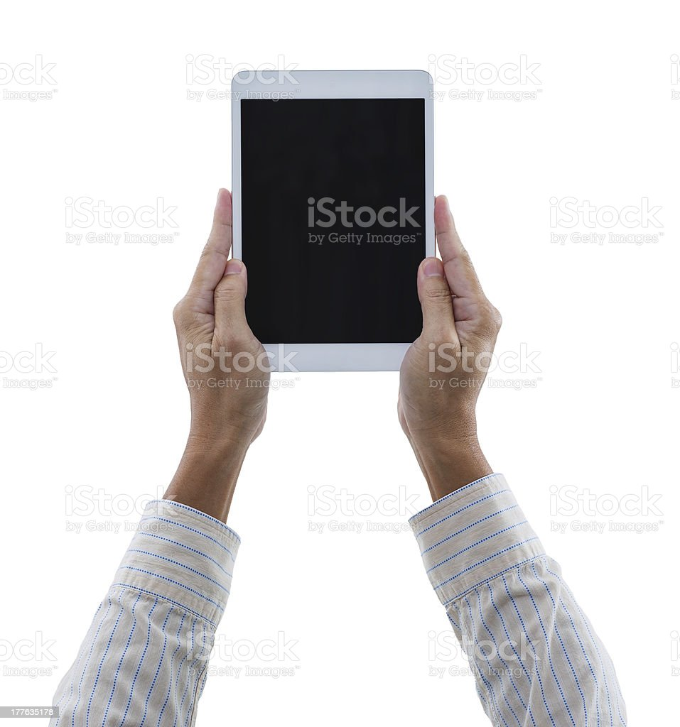 Man hands hold digital tablet isolated on white royalty-free stock photo