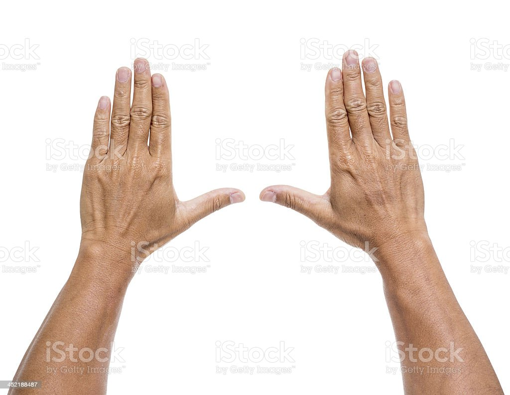 Man hands isolated on white background stock photo