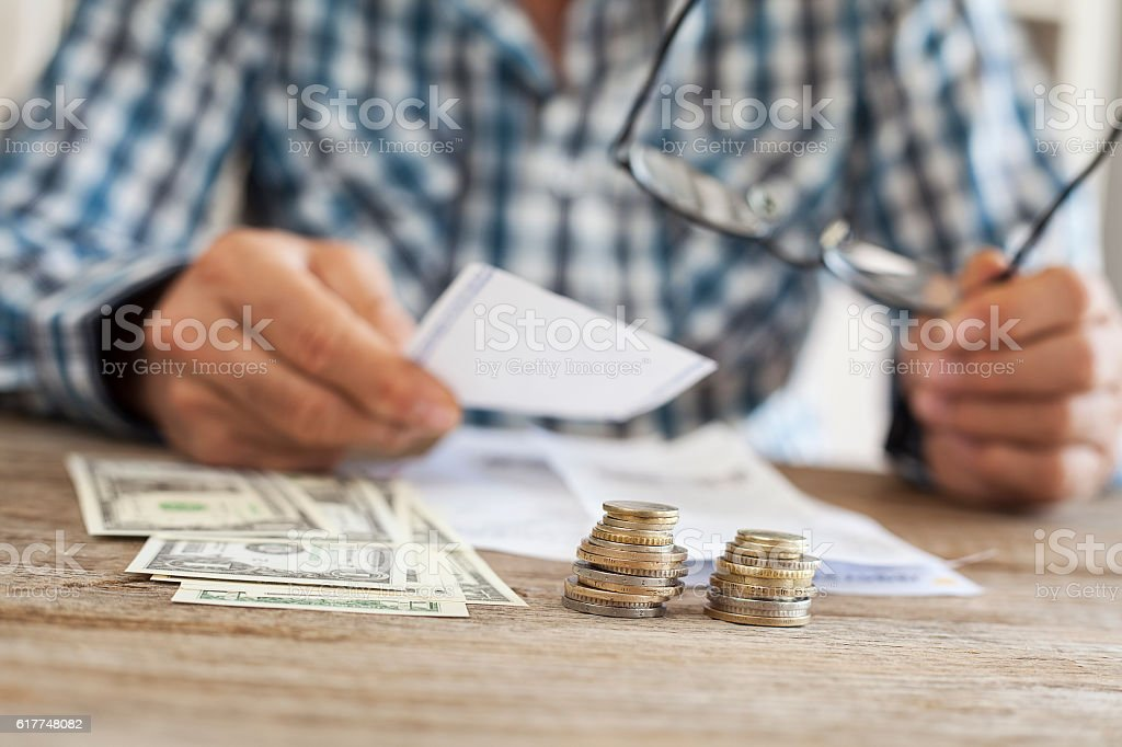 Man hands with bills and money stock photo