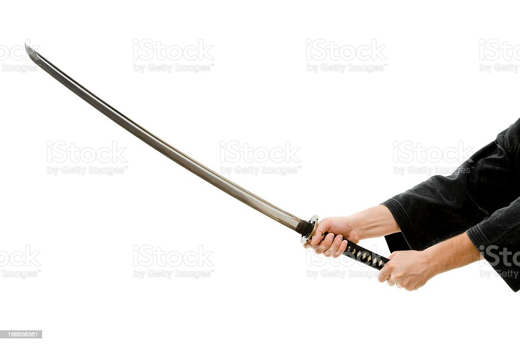 Man hands with katana, isolated on white stock photo