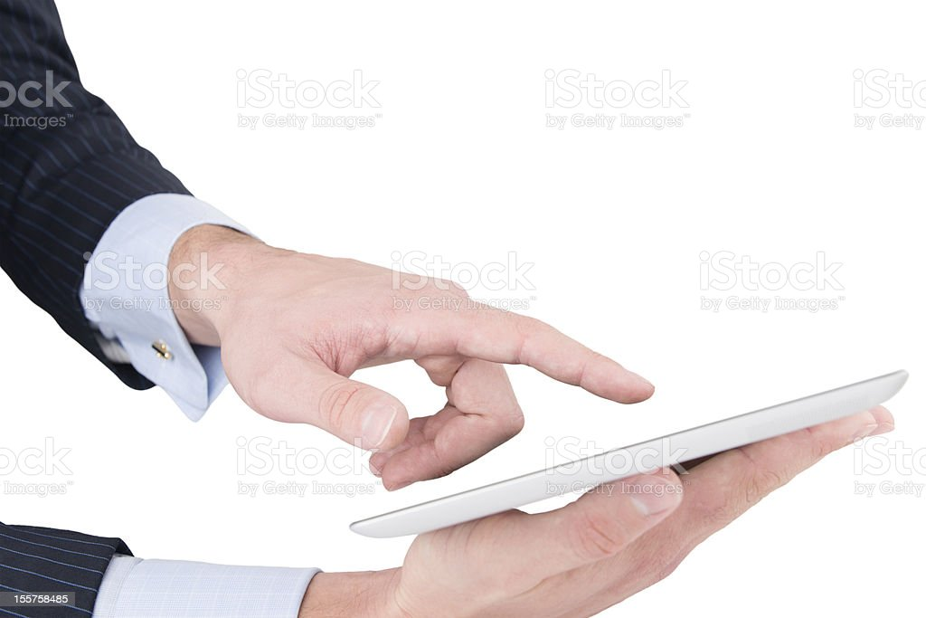 Man hands working on digital tablet stock photo