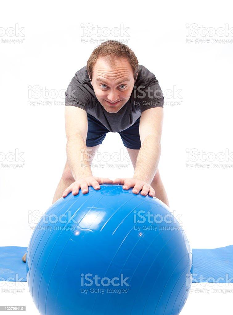 Man happy while exercising stock photo