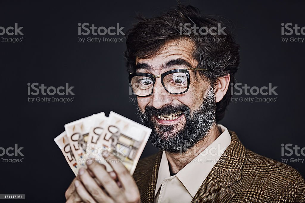 Man happy with money stock photo