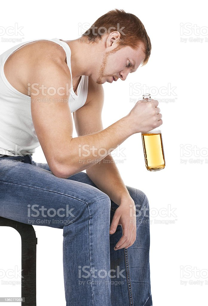 man has awful problems with alcohol stock photo