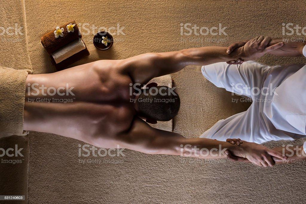 Man has massage stock photo