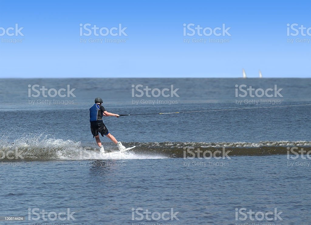 Man have wakeboarding in open sea royalty-free stock photo