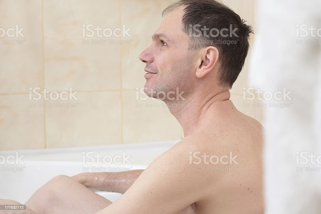 Man having a bath royalty-free stock photo