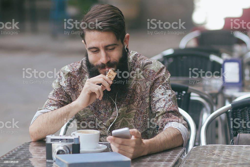 Man having a coffee break stock photo
