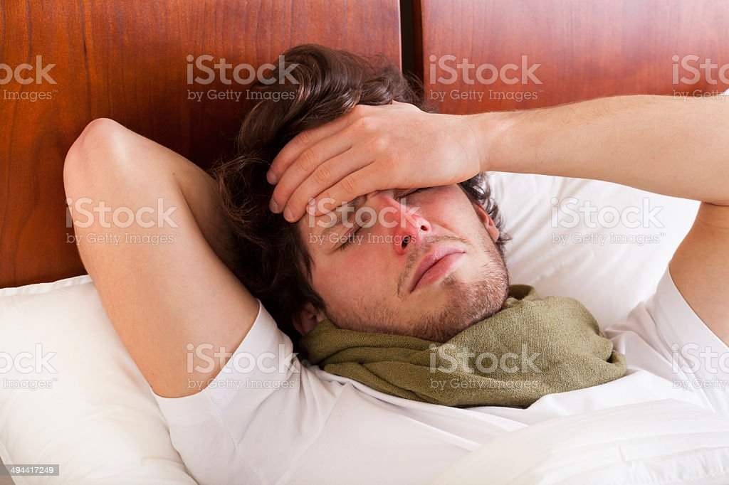 Man having a flu stock photo