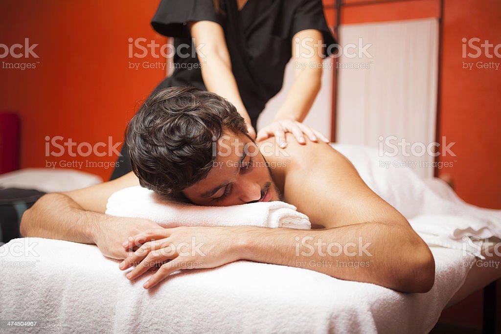 Man having a massage royalty-free stock photo