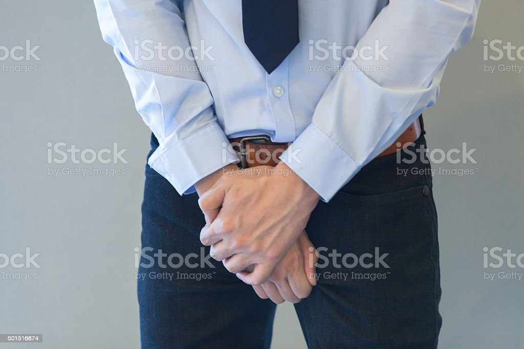 Man having a problem with his penis stock photo