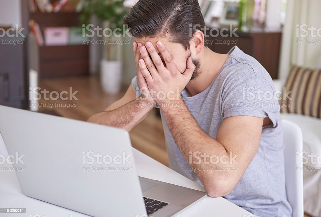 Man having a really serious problem stock photo