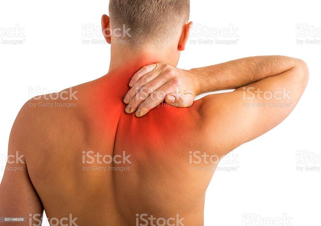 Man having back and shoulder pain stock photo