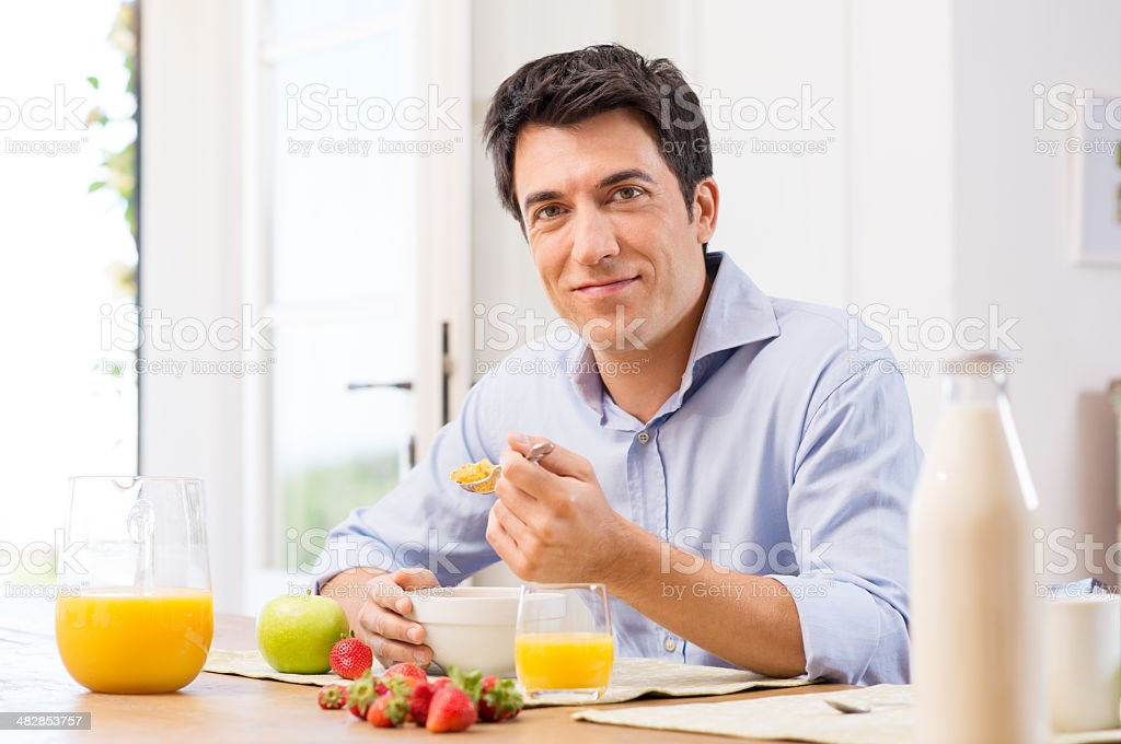 Man Having Breakfast royalty-free stock photo