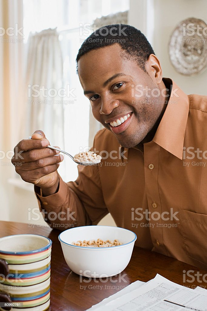 Man having breakfast royalty-free stock photo
