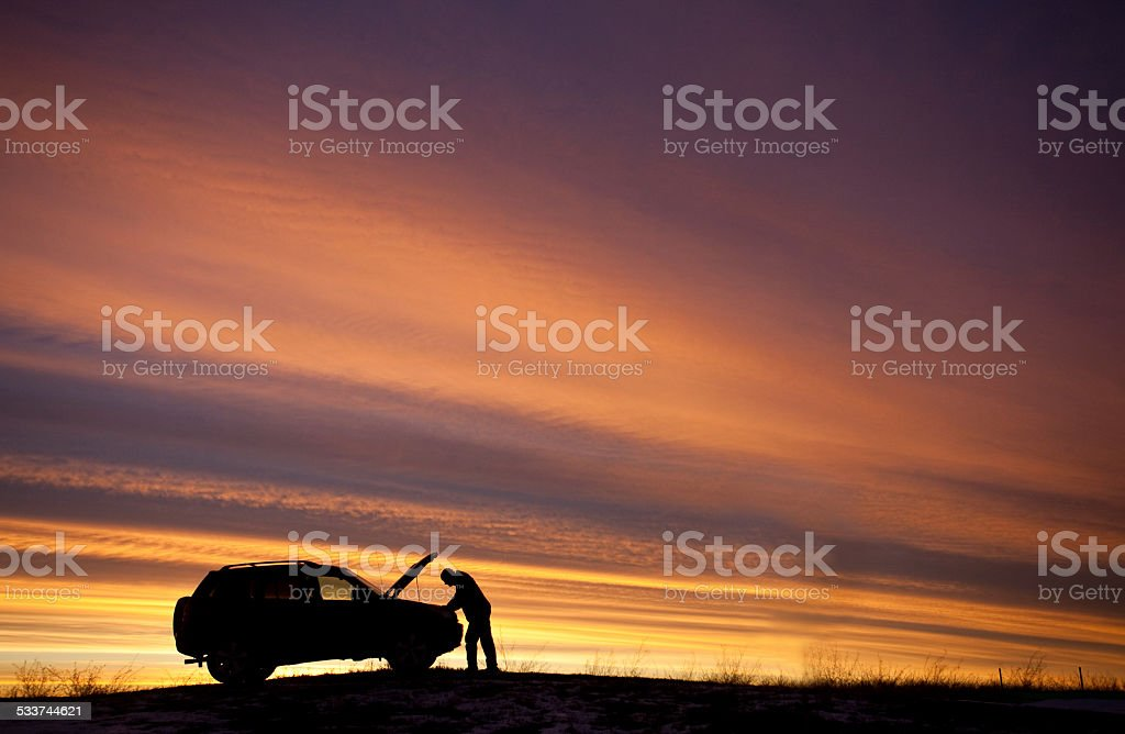 Man Having Car Trouble Roadside Assistance Needed stock photo