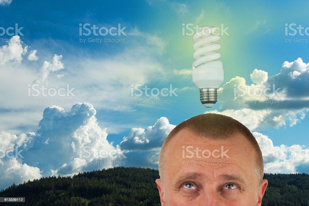 Man having ideas. Man has eco-friendly idea. stock photo