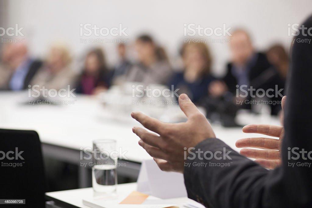 man having presentation at seminar royalty-free stock photo