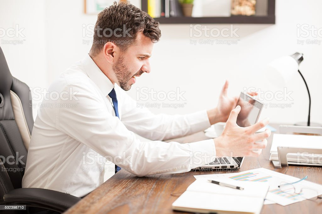 Man having problems with his computer stock photo