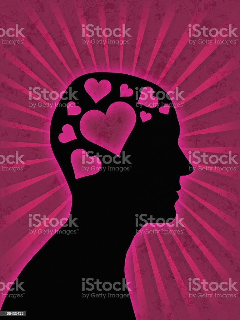 Man head silhouette - love royalty-free stock photo