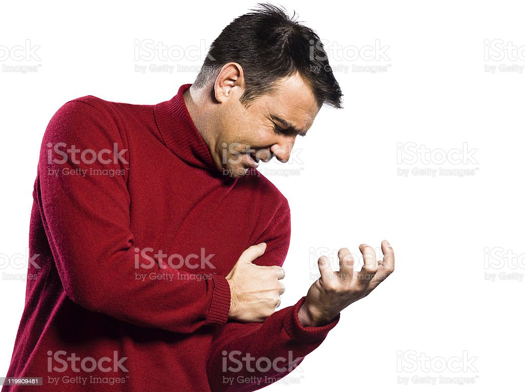 man heart attack cardiac arrest painful left arm first symptome stock photo