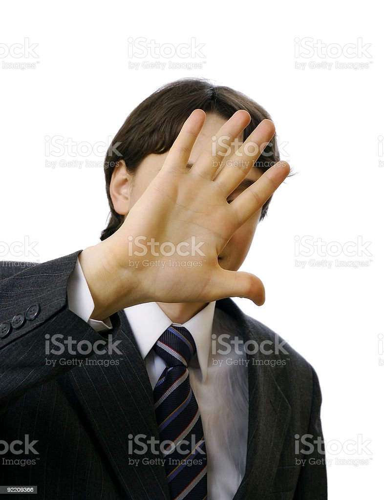 Man hide his face by hand royalty-free stock photo