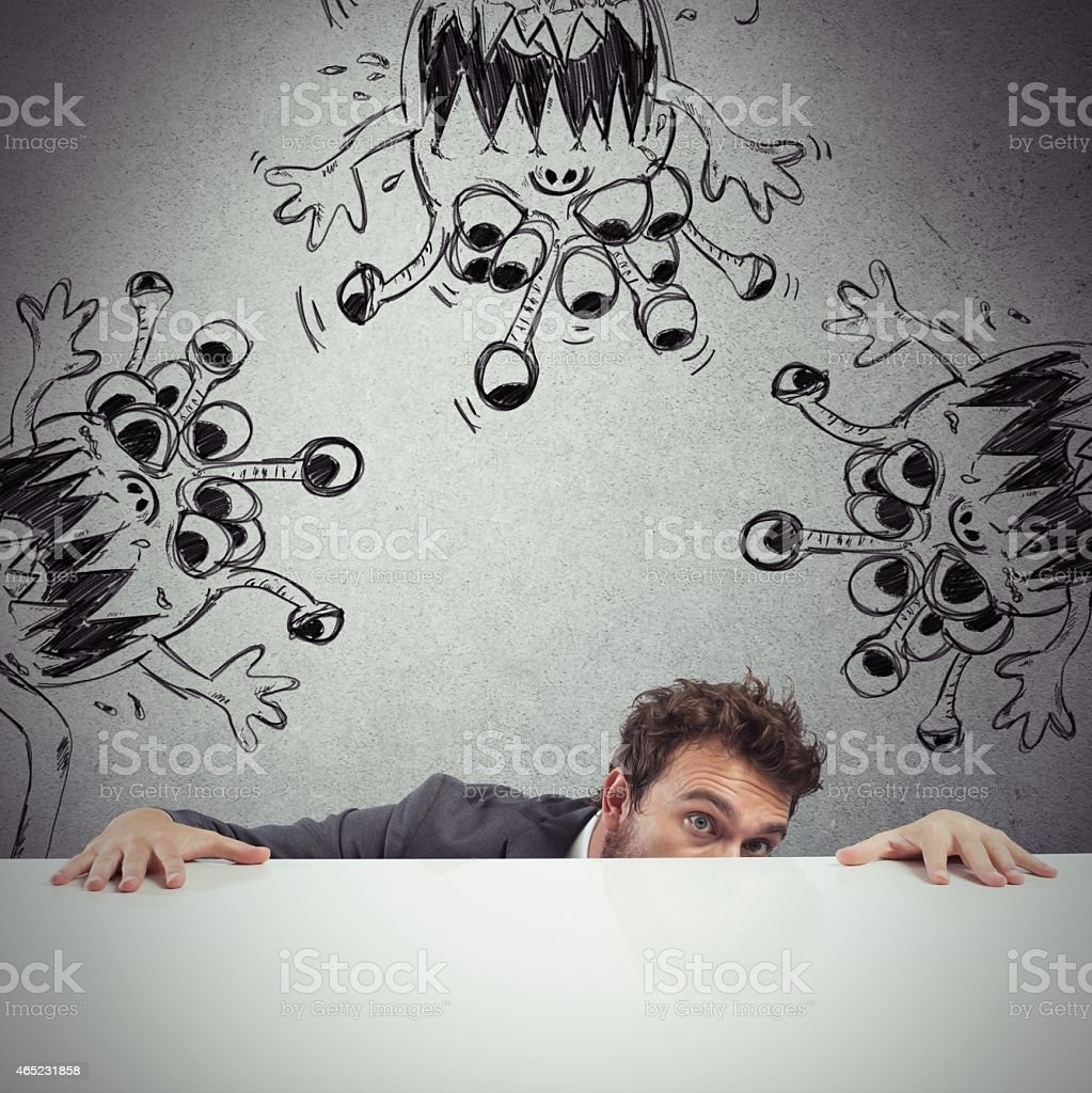Man hides virus stock photo