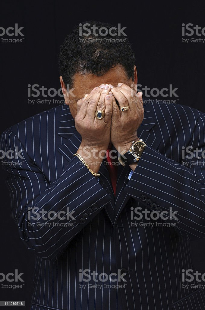 man hiding her face stock photo