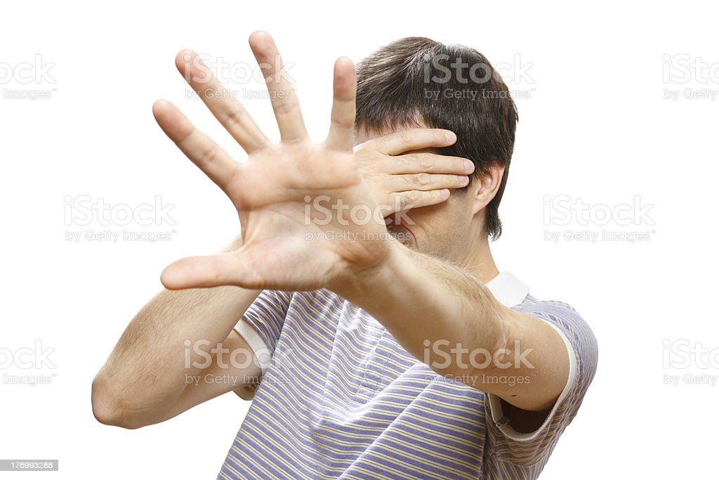 man hiding his face with the hands royalty-free stock photo