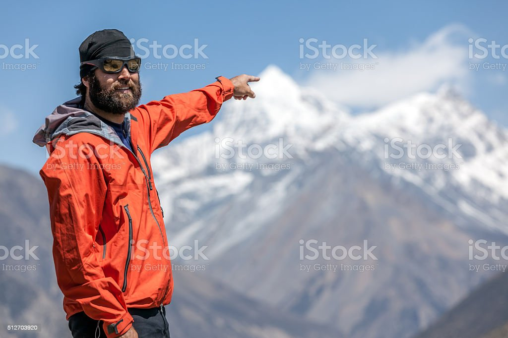 Man hiker Hiking Around Annapurna Trek, Nepal stock photo
