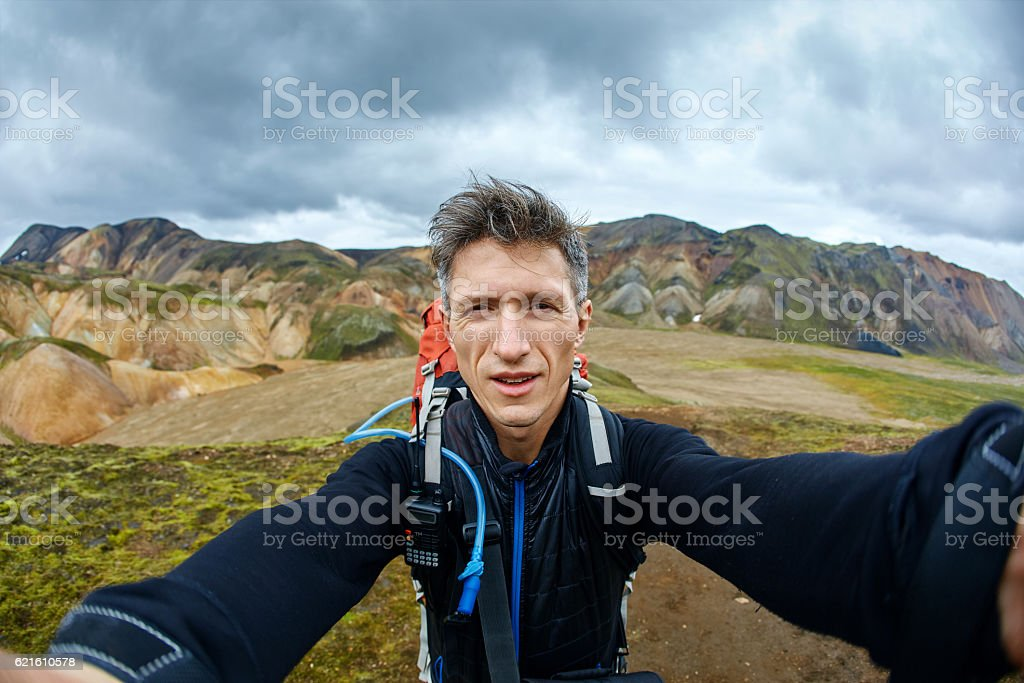 man hiker photographer stock photo