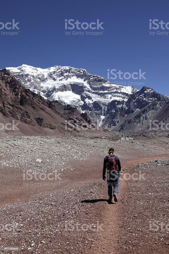 Man Hiker Walking to the Aconcagua Mountain Summit royalty-free stock photo