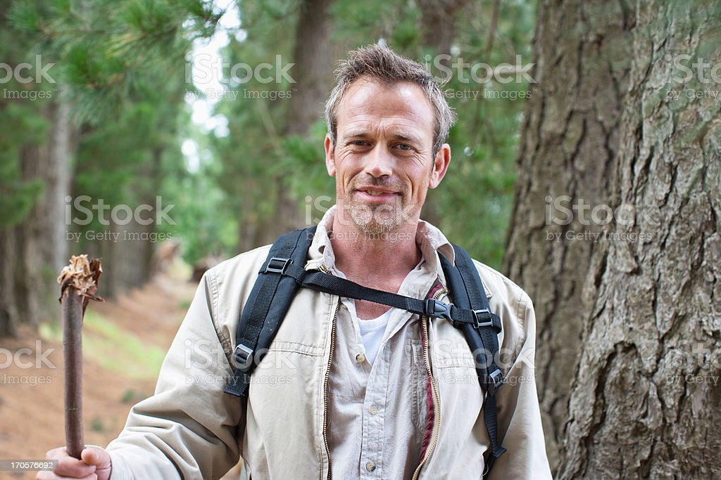 Man hiking in forest royalty-free stock photo