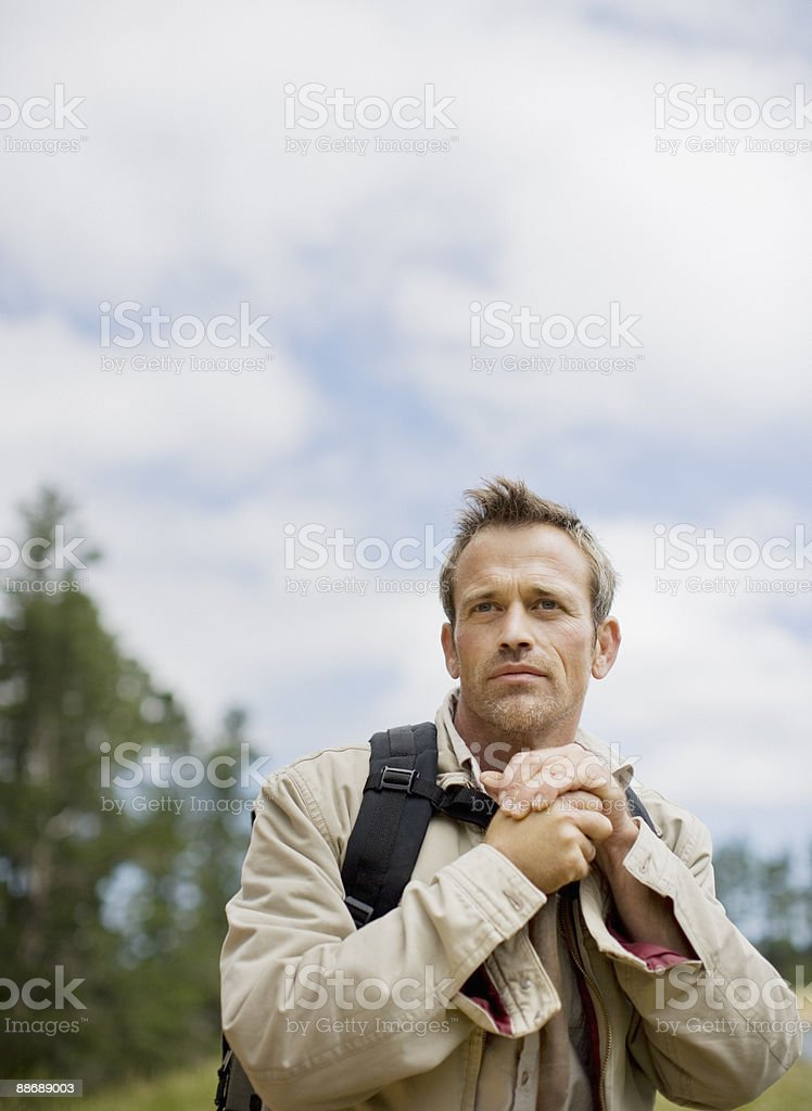 Man hiking in remote area royalty-free stock photo