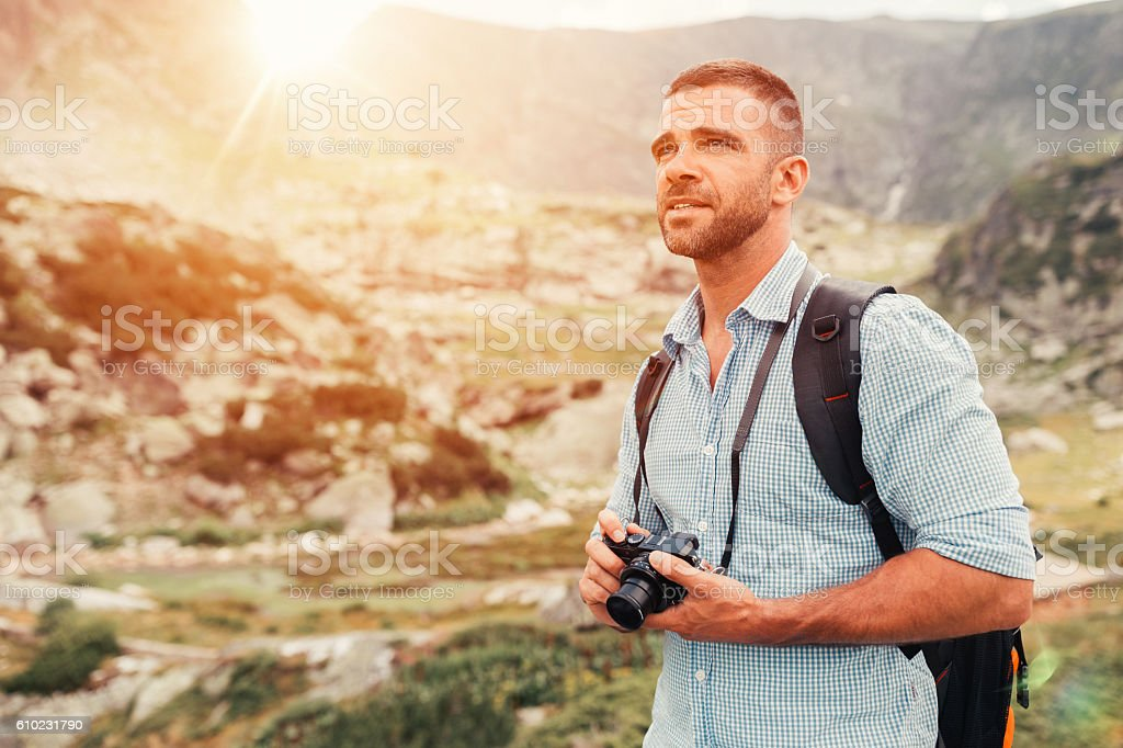 Man hiking in Rila mountains stock photo