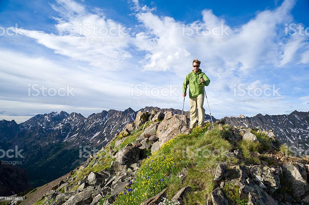 Man Hiking Mountain Ridge in Summer royalty-free stock photo