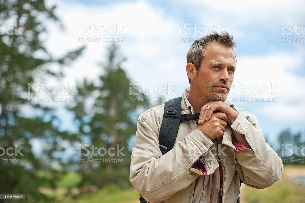 Man hiking near remote area royalty-free stock photo